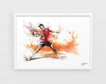 Roger Federer - A3 Art Prints of the Original Watercolors Paintings Tennis Poster