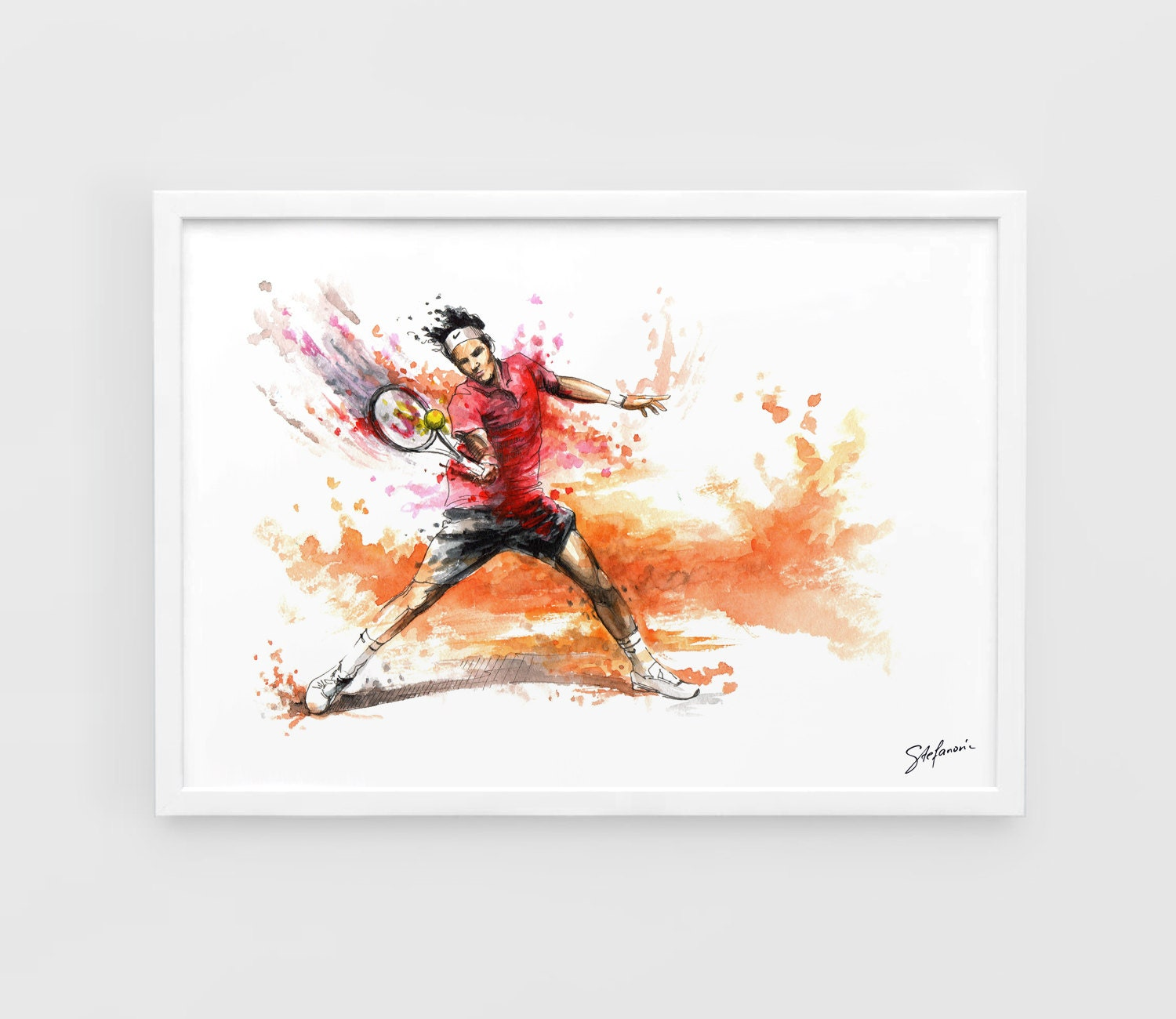 roger federer a3 art prints of the original watercolors