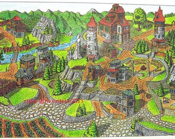"""Fantasy art print- pencil and ink art fantasy drawing print """"Upper Sigith"""" from Fantasy World Series, Signed and dated"""