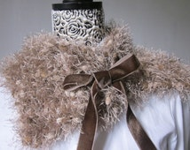 Knitted Cowl Soft Ecru Shades Handmade, Warm Brown Velvet Bow, One size