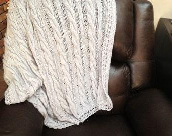 Custom  Hand Knitted Throw Blanket