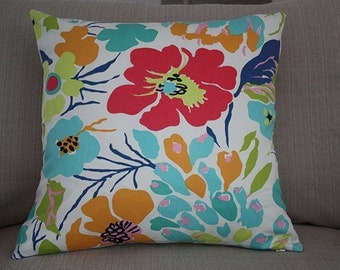 Vibrant Floral 20x20 Annie Selke Fabric- Decorative Designer Throw Pillow Cover