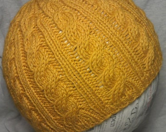 Simple Traditional Cable Knit Hat PATTERN - Instant Download