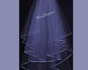 "Bridal Veil ,Wedding Veil, 2 tier ShoulderLength 15"" 20""  , Communion Veil,Hennight veil.Ribbon edge with detachable comb & Loops."