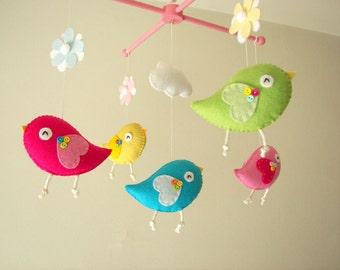 """Baby crib mobile, Bird mobile, felt mobile, nursery mobile, baby mobile """"Bird - Neon"""""""