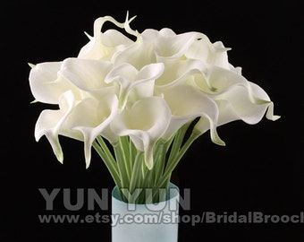 Calla Lily bouquet  White 20pcs latex Real Nature Touch Flowers Bridal Bouquet Wedding Bouquet with Scent  the same as real flower for DIY