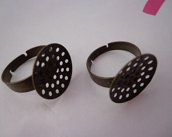 SALE--20 pcs- Antique bronze Ring Base Adjustable with 18mm Round Pad