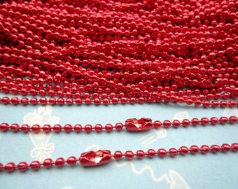 SALE--50 pcs Red Ball Chain Necklaces - 27inch, 2.0 mm