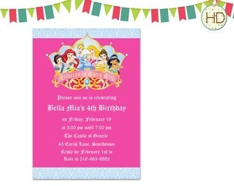 Princess Crown Invitation, Disney Princess Invitation, Princess Birthday Party