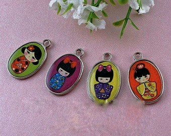 10  Cute Japanese Girl Two-Sided Charms