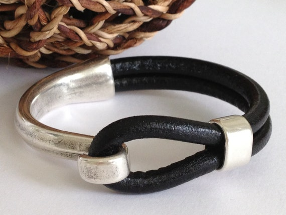 bracelet clasps for leather black leather bracelet antique silver hook clasp leather 1839