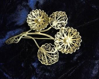Vintage Silver Open Scroll Work Flower Brooch