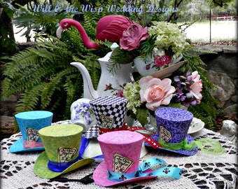 Alice in Wonderland 3 inch tall Top Hats-Set of 5-Favors-photo props-Wedding-Tea Party-Birthday-Shower-Quinceanera-