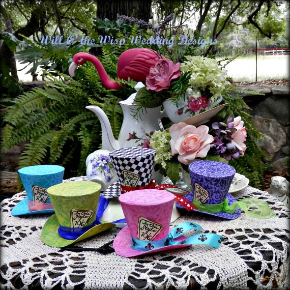 Alice in wonderland birthday party mad hatter hats bundles - Mad hatter tea party decoration ideas ...
