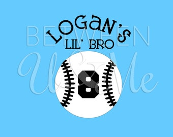 Baseball Lil' Bro Brother Iron On Decal Vinyl for Shirt