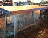 Kitchen Island - Industrial Butcher Block Kitchen Island – Reclaimed Wood – MADE TO ORDER