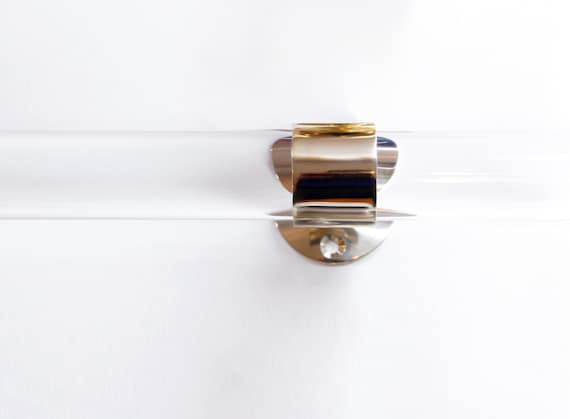 ... Lucite Curtain Rod w/ Brass or Nickel Brackets And Center Bracket