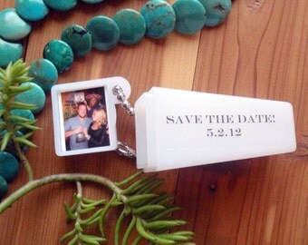 Custom Photo and Words, 150 Party Favors, Dave the date, Invitation. Civil Union Celebrate in Viewfinder.