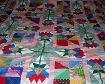 SALE judy's flowers scrappy patchwork quilt top