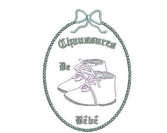 instant download  Machine Embroidery  applique frame Retro baby shoes