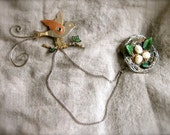 Bird and Nest Pin Set