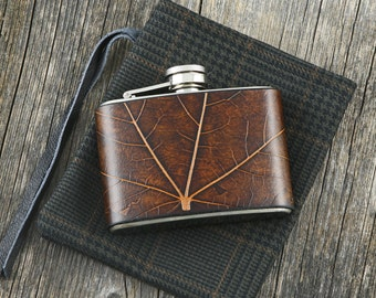 True leaf texture Italian Leather Flask