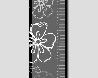 Personalized Black and White Flower Growth Chart- Vinyl Print, Growth Charts for Girls, Nursery and Childen Decor
