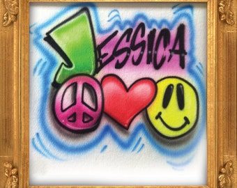Peace Love and Happiness airbrush t-shirt