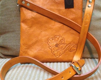 Beautiful Handmade shoulder purse with custom tooling. (Your initials)
