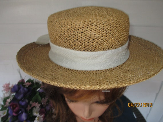 Vintage Natural Straw Hat With Crepe Ribbon And Bow