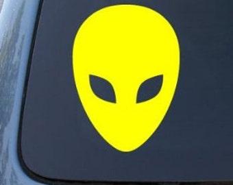 """Alien Head 5"""" Vinyl Decal Widow Sticker for Car, Truck, Motorcycle, Laptop, Ipad, Window, Wall, ETC"""