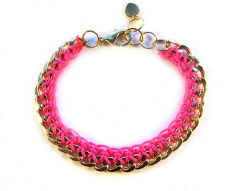 Gold Chain Bracelet with Neon Pink Thread