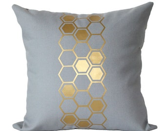 Metallic Gold Hive Honeycomb Pillow Cover