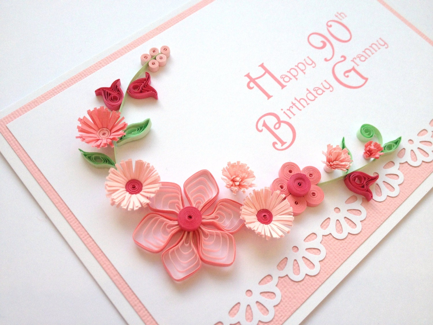 items similar to pink paper quilling 90th birthday card