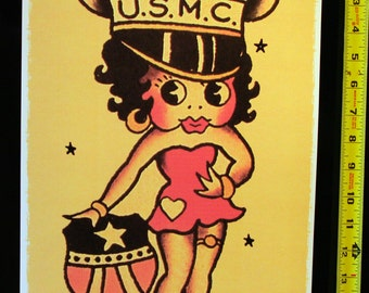 11 x 17 Betty Boop USMC Vintage Sailor Jerry Style Flash Poster Print