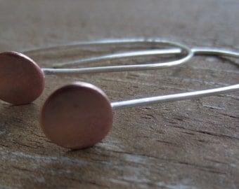 Tiny Dot Earrings, Modern Earrings, Copper Earrings