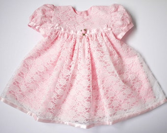 Lauren - White Lace over Pink Crepe de Chine Fabric Baby Dress