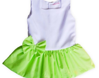 Cute Puffball Baby Dress in White Crepe de Chine.