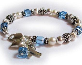 Prostate Cancer Survivor Bracelet - Prostate Awareness Ribbon Bracelet with Light Blue Swarovskis