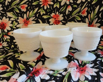 6 / Six Milk Glass Footed Sherbets Anchor Hocking Grape and Leaf Pattern