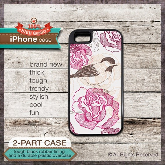iPhone 6, 6+, 5 5S, 5C, 4 4S, Samsung Galaxy S3, S4 - Bird Floral Pattern - Design Cover 04