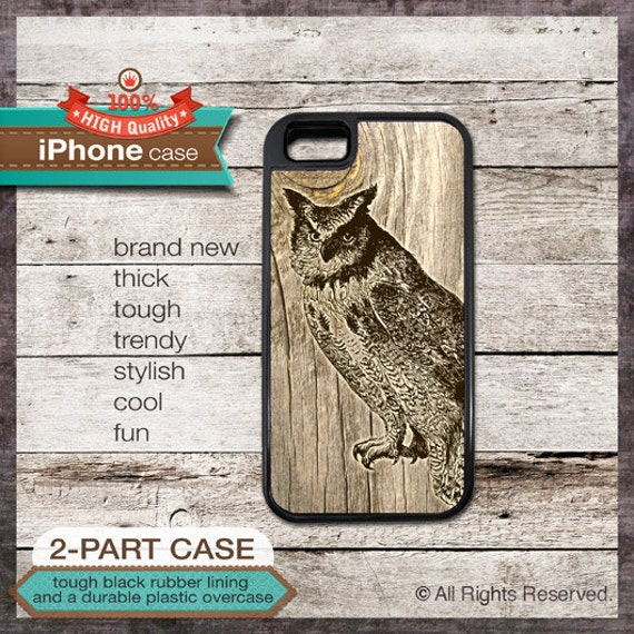 Owl on Wood iPhone case - - iPhone 6, 6+, 5 5S, 5C, 4 4S, Samsung Galaxy S3, S4