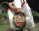 Reusable tote bag made from an upcycled Canada Malting sack
