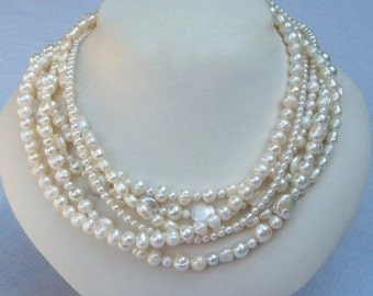 Pearl Multi Strand Necklace - Brides Necklace - Chunky Pearl Necklace - Freshwater Pearl Necklace -