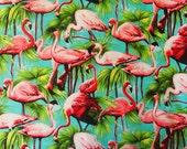 """Sky Blue & Pink Flamingo 100% Cotton Fabric Fat Quarter-  50cm x 55cm - 19.6"""" x 21.6"""" - Vintage Retro Fat Quarter FQ Bird"""