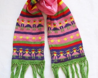 Kids Pink Cotton Knit People Scarf