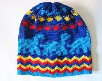 Royal Blue Kids Cotton Knit Dino Hat