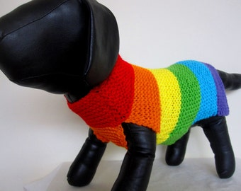 Rainbow dog sweater-handmade dog/hand knit dog/Gay Pride dog sweater/colorful dog coat/rainbow dog/stripe dog coat