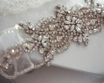 Beaded Bridal Garter Set   - Viva-2  (Made to Order)