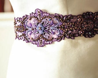 Bridal Sash Belt in purple -  Porpora (Made to Order)